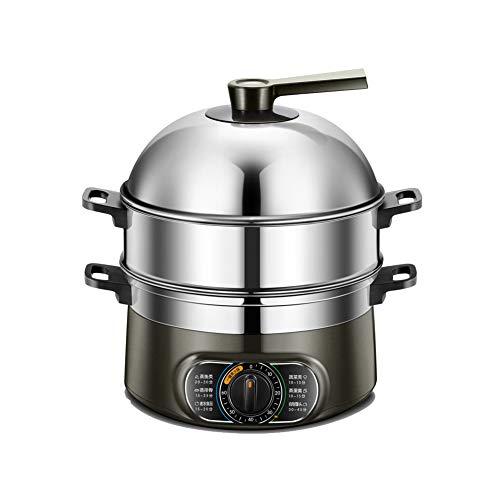 Marmite à vapeur à 3 couches en acier inoxydable pour légumes, 10L mise hors tension automatique grande capacité, minutage 60 minutes