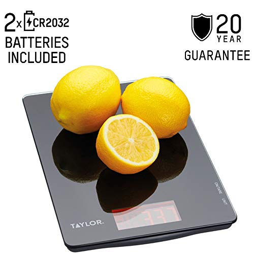 Taylor Pro Digital Ultra Thin Kitchen Food Scales, Compact Slimline Professional Standard with Tare Feature and Precision Accuracy, Black Glass, Weighs 5 kg Capacity