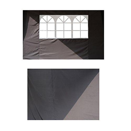 Angel Living 2.5x2.5M Pavillon Faltbar Terassen Dach Wasserabweisend aus Stahl und Polyester mit Tragetasche (2.5 * 2.5 Grau Seitenwänden)