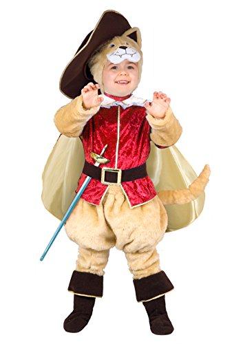 Ciao 14792 - Disfraz de gato con botas, 3 – 4 años, beige, rojo y marrón