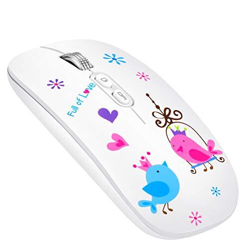 Ratón Inalámbrico Recargable, Silencioso 2.4G Ultra Delgado Receptor Nano Wireless Mouse 1600 dpi Ajustables Mini Mouse para PC, Portátil, Computadora, Macbook (Bird)