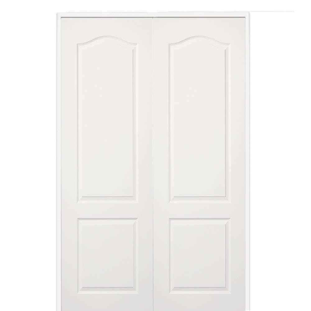National Door Company ZZ365130BA Solid Core, Molded, 2-Panel Eyebrow Archtop, Both Active, Prehung Interior Double Door, 36