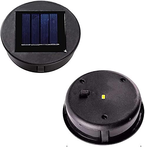 Satz Von 2 Solarleuchten Ersatz Top mit LED Leuchtmitteln Solarpanel Laterne Deckel Leuchten Ersatzoberteil Glühbirne Ersatzteil für Outdoor Hängelaternen DIY für LED Solarleuchten Garten Decor