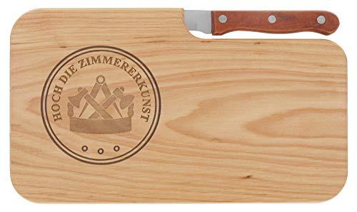 LASERHELD Brotzeitbrett Jausenbrett Holz Erle Messer Hoch die Zimmererkunst Geschenk Zimmerer Schneidbrett Holz Geschenkidee für Sie und Ihn
