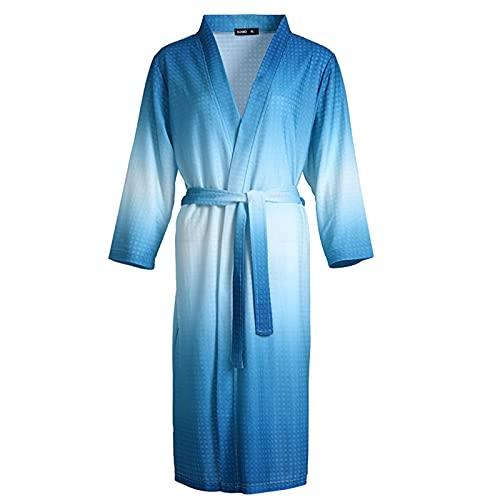 DFBGL Albornoz de Verano para Pareja, Batas de Punto de algodón Suave y Transpirable con Cuello en V, Hombre y Mujer, Bata Tipo Kimono Tipo gofre para Dormir en casa, Pijamas de Fiesta,