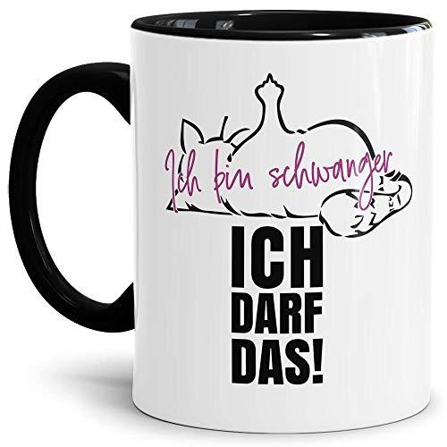 Lustige Tasse mit Katze und Spruch - Ich Bin schwanger, ich darf das! - Werdende Mutter/Schwangerschaft/Geschenk Freundin - Innen & Henkel Schwarz