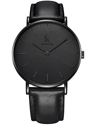 Alienwork IK All Black Armbanduhr Herren Damen schwarz Lederarmband Ultra-flach