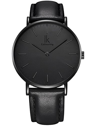 Alienwork IK All Black Herren Damen Armbanduhr Quarz schwarz mit Lederarmband Ultra-flach Slim-Uhr