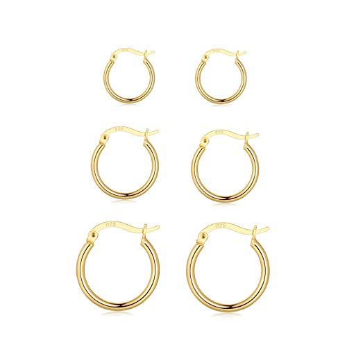 Orecchini a cerchio in argento 925 per donna e ragazza, 3 paia di orecchini a cerchio in argento (15 mm/20 mm/24 mm) | Orecchini a cerchio in oro argento Huggies set regalo e placcato Oro, cod. C001b