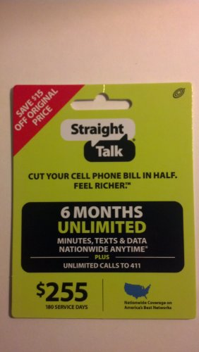 Straight Talk 6 Months Unlimited Refill/Service Card (Mail Delivery)