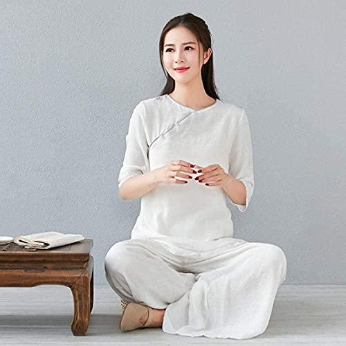 Ropa de Tai Chi Traje de meditación Zen para Mujer Uniforme de Tai Chi Ropa de Kung Fu Chino Traje de Yoga de algodón y Lino Blanco-Grande