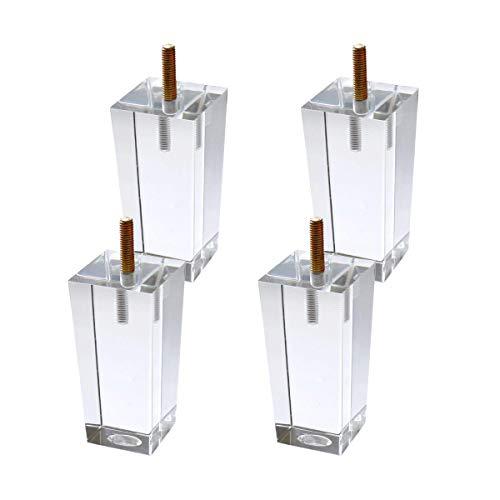 Nrpfell 4 Teile/Satz 100Mm Acryl M?Bel DIY Beine Klar Glas BüCher Regal Fü?E für Couchtisch Beistell Tische Anrichte Buffets Hocker Schrank Bett