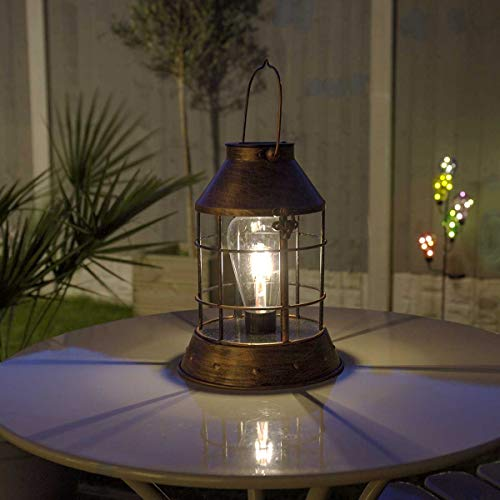 Festive Lights SL087 solarbetriebene wetterfeste Outdoor Metall Laterne – Retro Glühbirnen Design - mit Glühfaden-Filament-LEDs – inkl. Akku, Solarpaneel, Dämmerungsschalter