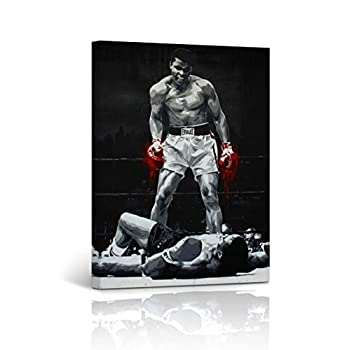 Muhammad Ali vs Sonny Liston Canvas Print First Minute First Round Knockout Splash Painting Red Gloves in Black and White Inspirational Wall Art Home Decor Ready to Hang -%100 Handmade in USA 12x8