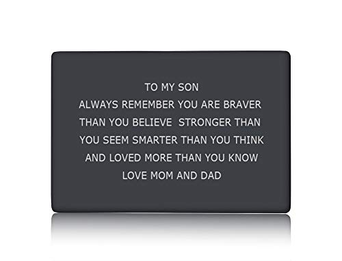 PJ JEWELLERY to My Son Wallet Card Insert Inspirational Message Always Remember Engraved Wallet Card Gift Encourage Gift to Boy Men from Mom and Dad