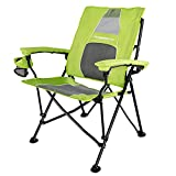 STRONGBACK Elite Folding Camping Lawn Lounge Chair Heavy Duty Camp Outdoor Seat with Lumbar Support and Portable Carry Bag, Lime Green/Grey 2.0, Original, 404HAC-LGGR-M 2.0