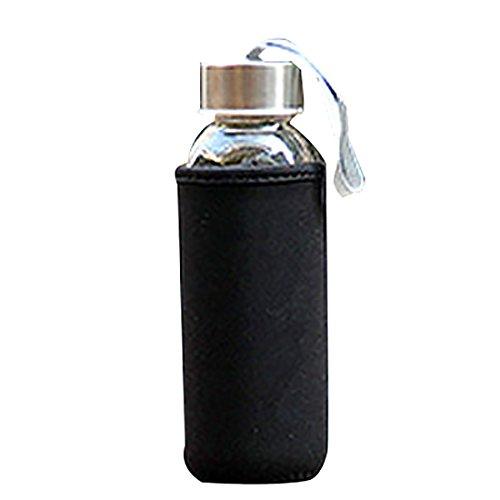 Botella de agua de cristal, 300 ml, transparente, para bebidas y zumos, fácil de transportar para la escuela, trabajo, deportes al aire libre, viajes con mangas protectoras