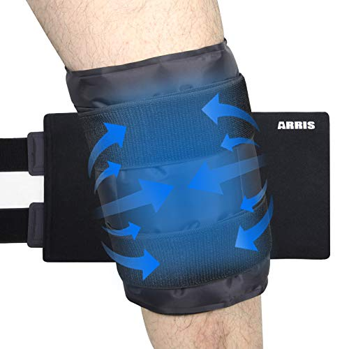 ARRIS Large Knee Ice Pack Wrap Around Entire Knee, Hot Cold Therapy Wrap for Pain Relief for Surgery Injuries, Recovery, Aches, Bruises & Sprains(19.5 * 10 inch) …