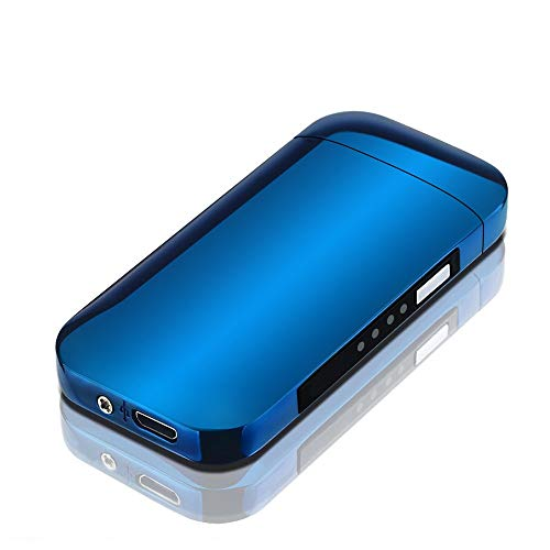 ZSAIMD Nuevo Metal A Prueba de Viento Electrónico USB Carga de Cigarrillos Encendedor Doble Arco Plasma Pulso Personalidad LED Encendido Pantalla Encendedores Encendedor de Cigarrillos de Arco
