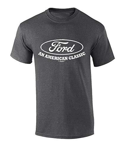 Ford Logo T-Shirt American Classic Car Shirt Motor Company Car Enthusiast Tee Garage Racing Performance-Heather Grey-4xl