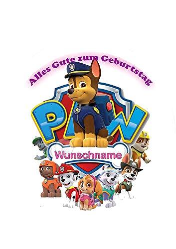 Paw Patrol + Wunschname Tortenaufleger Tortenbild Geburtstag Fondant Ø 20cm / 3835