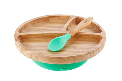 """Avanchy Bamboo Suction Toddler Plate & Spoon - 9 Months and Older - Silicon Suction - Stay Put Plate - 8.5"""" x 2.5"""" (Green)"""