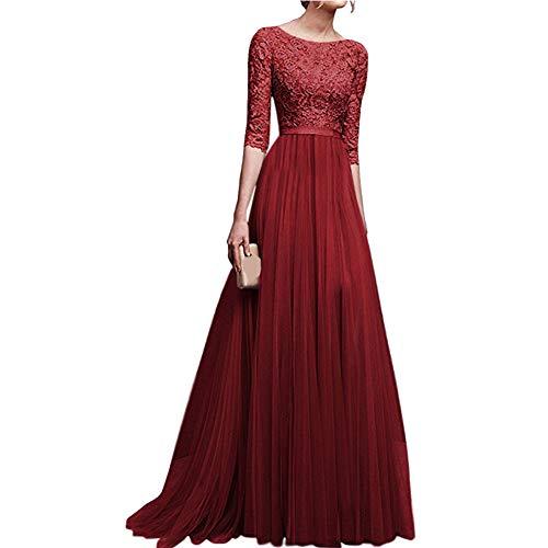 AKDSteel vestido de noite de casamento de chiffon para casamento e festa, Red Wine, Medium