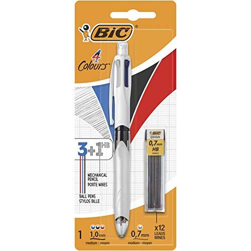BIC 4 Colori Multifunzione Penna a Sfera a Scatto, Ottimi per la Scuola,3 colori + 1 matita meccanica, Pacco da 1 Penna + 12 x mina HB da 0.7 mm Ricariche