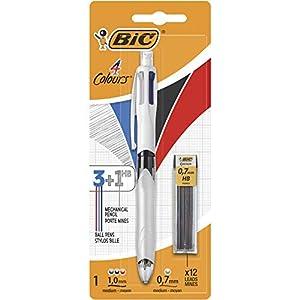 BIC 4 Colores Bolígrafo de Punta Media (1,0mm) Multifunción 3+1HB con 12 minas de Recambio 0,7mm - Colores Surtidos - Ideal para profesionales