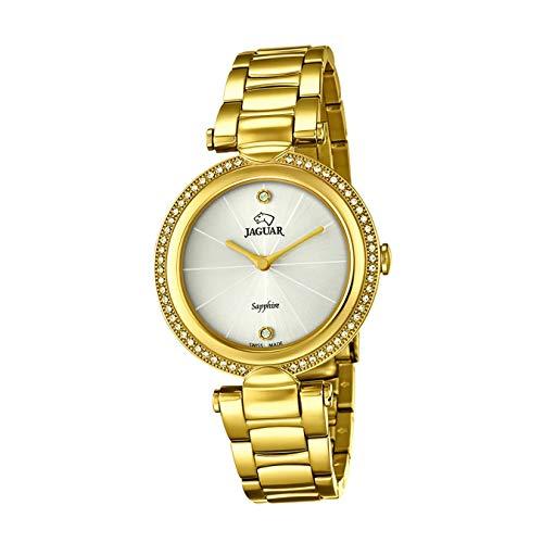 JAGUAR Reloj Modelo J830/1 de la colección Cosmopolitan, Caja de 34,5 mm Blanco con Correa de Acero Chapado para señora