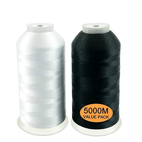 New brothread Conjunto de 2 (Blanco+Negro) Poliéster Bordado Máquina Hilo Grande carrete 5000M para todas las máquinas de bordado