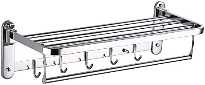 Hardwareh 304 Stainless Steel Towel Rack, Bathroom, Bathroom, Bathroom, Bathroom, Bathroom, Bathroom, Washroom, 2 Layers of Towel Hanger,A01 304 Steel  Double Use of 50Cm Free Punch Screwmodern Simpl