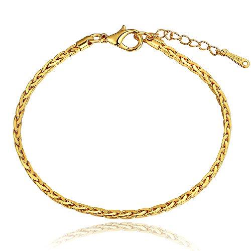 Braccialetto unisex in oro giallo, placcato oro 24 kt