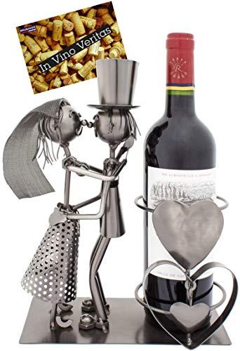BRUBAKER Portabottiglia da Vino dal Raffinato Design Coppia di Sposi - Portabottiglie per Vino in Metallo con Biglietto di Auguri