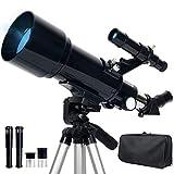 Upchase Telescopio Astronomico, 400/70mm Portátil y Potente Refractor Telescopio, Adecuado para Principiantes-Regalos para Niños y Adultos, Fácil de Montar y Usar, Observer la Luna, Aves, Regalo