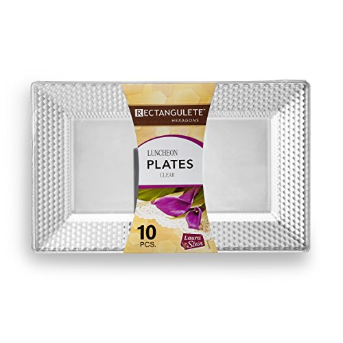 [10 Count - 13.5 Inch Plates] Rectangulete Hexagons Designer Tableware Heavyweight Plastic Clear Rectangle Dinner Plates With Designed Border, Party & Wedding, Event Disposable Dishes