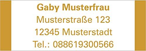 Adressaufkleber - Adressetiketten Rahmen farbig - 192 Stück, ca. 48 x 17 mm, 1-5 Zeilen beschriftbar, viele Farben (goldfarben)