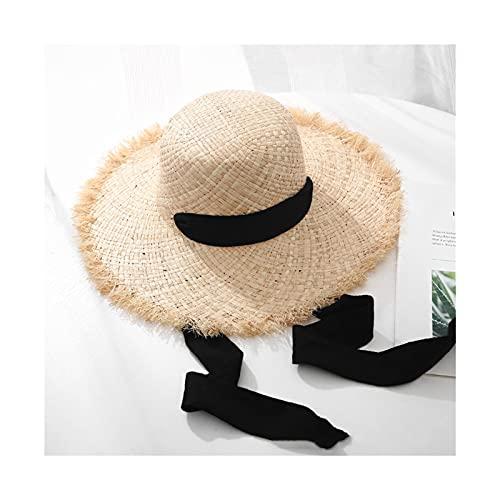liushop Sombrero para el Sol Redondo Top Large Sombreros Ancho Sombreros Playa Gorra Mujeres Verano Holiday Paja Sunhat Sombrero de Playa (Color : 2, Size : L)