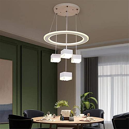 Luces colgantes LED modernas, nueva lámpara colgante suspendida para pasillo con personalidad nórdica con atenuación de tres colores (incluye 1 lámpara colgante de diamantes y 5 colgantes), D, 110 V