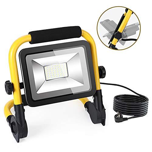 LED Baustrahler 50W 4500 Lumen mit 5M Netzkabel, IP66 Wasserdicht Flutlicht 6000K Baulampe Strahler Werkstattlampe Strahler Arbeitsleuchte für Arbeiten, Autoreparatur