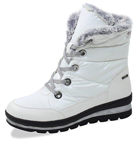 CAPRICE Damen Winterstiefel 26221-21,Frauen Winter-Boots,Fellboots,Fellstiefel,gefüttert,warm,Tex Decksohle,4cm,White Comb,UK 5