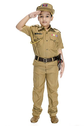 Smuktar garments Kids Synthetic Indian Police Service (IPS) Costume, 1-11 Years (Beige)