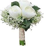 XYQS Ramo de Boda Rosas con babysbreath Boda de Novia Boda Dama de Honor con Flores, Tirar Ramo (Color : White)