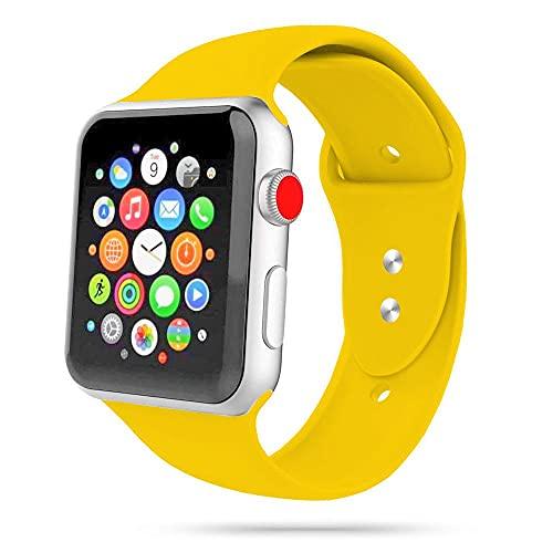Tech-Protect Correa para Apple Watch 42 mm, 44 mm, 45 mm, Iconband compatible con Watch Series SE/7/6/5/4/3/2, correa deportiva de silicona suave, color amarillo