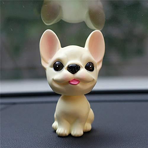 cadkanri Car Dashboard Toys Decor Nodding Dog Car Ornament French Bulldog Shaking Head Cute Wobble Bobble Head Puppy Dolls Auto Accessory leelei (Color Name : Yello)