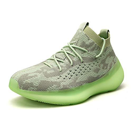 Monrinda Laufschuhe Damen Herren Sportschuhe Turnschuhe Sneakers Joggingschuhe Straßenlaufschuhe Atmungsaktiv Walkingschuhe Running Fitness Leichte Schuhe Green 42EU
