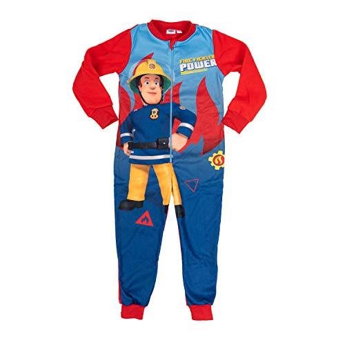 Feurwehrmann Sam – Jungen Jumpsuit, Kinder Overall Einteiler Schlafanzug (98/104)