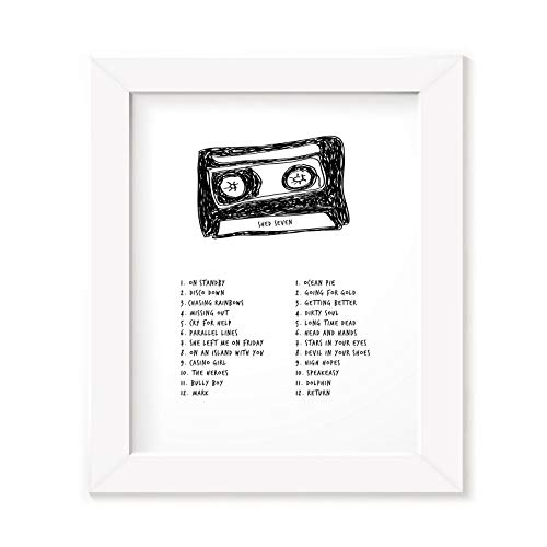Shed Seven Poster Framed Gift, Band Song Lyrics Album Art, Signed Original Mixtape Cassette Print Black
