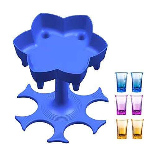 ERTYU 6 Shot Glass Dispenser and Holder, Dispenser for Filling Liquids, Multiple 6 Shot Dispenser, Cocktail Dispenser, Liquor Dispenser Gifts Drinking Games for homeblue with 6 Colorful Shot Glasses