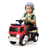 COSTWAY Kinder Feuerwehrauto, Elektroauto, Kinderauto, Elektrofahrzeug, Kinderfahrzeug mit Sirene, Blaulicht, Hupe und Musik, geeignet für Kinder 3-8 Jahre